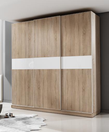 Шкаф-купе НОВА 3-х дверный Дуб сонома Белый глянец